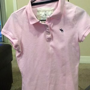 Abercrombie and Fitch pink polo style shirt large